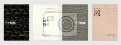 Sticker Ensemble de vecteurs de modèle de conception de la couverture avec des motifs géométriques minimaux d'or.