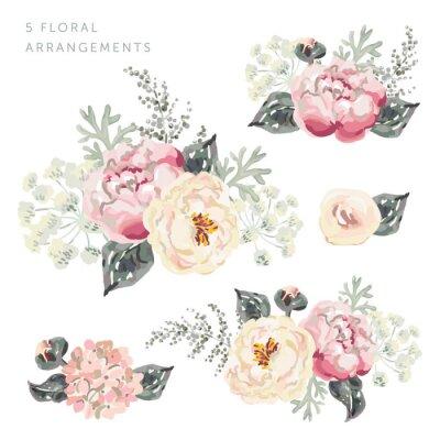 Sticker Ensemble des arrangements floraux. Bouquets de pivoines roses aux feuilles grises. Illustration vectorielle aquarelle. Fleurs de jardin romantique.