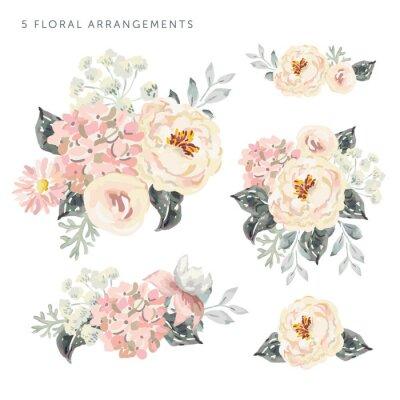 Sticker Ensemble des arrangements floraux. Pivoines roses pâles et hortensia aux feuilles grises. Aquarelle vecteur romantique des fleurs de jardin.