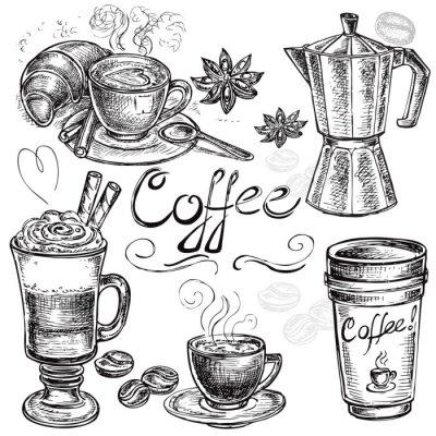 Sticker ensemble dessiné collection de café à la main