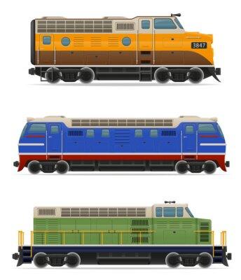 Sticker Ensemble icônes train locomotive train vecteur Illustration