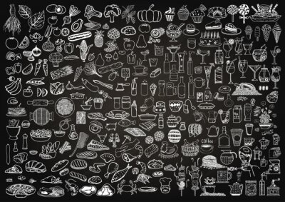 Sticker Ensemble, nourriture, boissons, griffonnage, chalkboard, fond