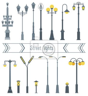 Sticker Ensemble, rue, lanternes, différent, formes Le style plat.