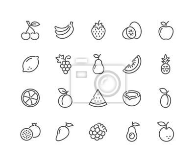 Sticker Ensemble simple de fruits associés Vector Line Icons. Contient des icônes telles que fraise, orange, melon d'eau, etc. AVC modifiable. 48x48 Pixel Parfait.
