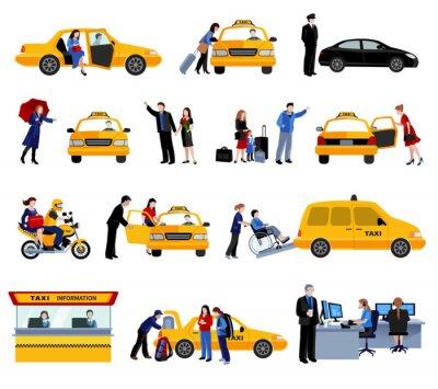 Sticker Ensemble, taxi, service, icônes