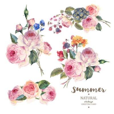 Sticker Ensemble, vendange, floral, vecteur, bouquet, anglaise, roses