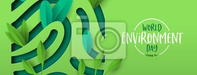 Sticker Environment Day banner of green cutout fingerprint