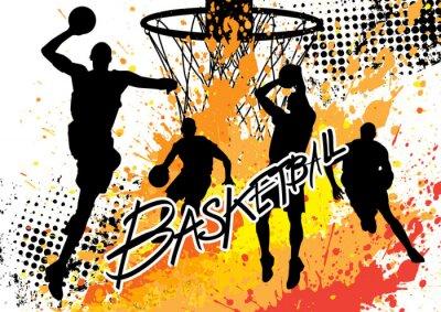 Sticker équipe de joueur de basket sur blanc grunge