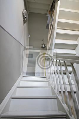 Sticker: Escalier intérieur droit en bois peint de maison