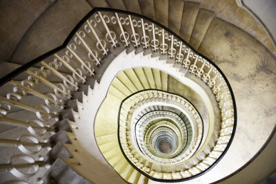Sticker Escalier, spirale, intérieur, grand, bâtiment