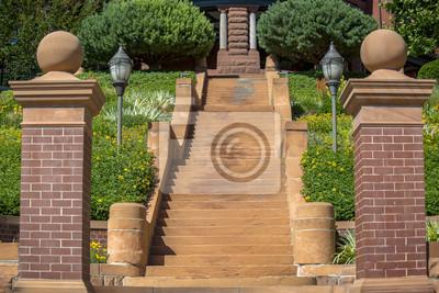 Sticker Escaliers en ciment avec piliers en briques