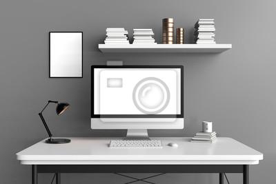 Sticker: Espace de travail moderne, écran dordinateur isolé et cadre