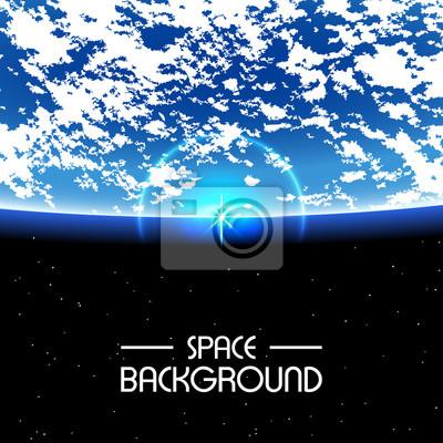 Sticker Espace Fond / Soleil levant sur la Terre avec un espace vide pour le texte / lever sur la terre