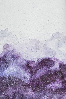 Sticker espace peinture avec de la peinture aquarelle mauve sur fond blanc