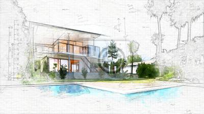 Sticker esquisse architecturale d'une maison