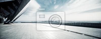 Sticker étage vide avec le paysage urbain moderne à new york