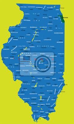 État de l'Illinois carte politique