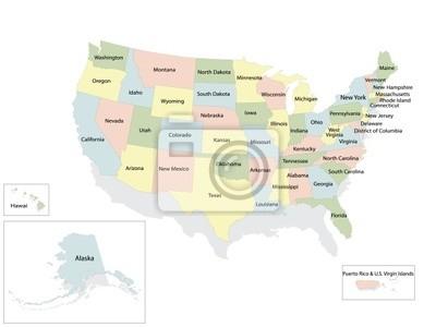 Etats-Unis d'Amérique carte politique