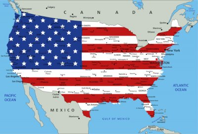 Sticker Etats-Unis d'Amérique carte politique très détaillée avec le drapeau national.