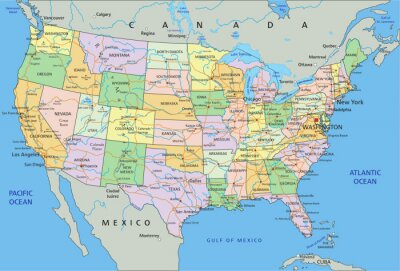 Sticker États-Unis d'Amérique - carte très détaillée avec un étiquetage politique modifiable.