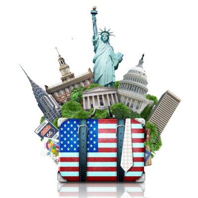 Sticker Etats-Unis, landmarks USA, valise et New York