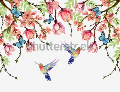 Sticker Été floral beau vecteur de fond avec des fleurs japonaises tropicales, glycine, magnolia, papillons, magnolia. Parfait pour les fonds d'écran, les fonds de page Web, les textures de surface, les t