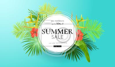 Sticker Été tropical fond vert avec des feuilles de palmier exotiques et des fleurs d'hibiscus. Fond floral de vecteur. Modèle de bannière ou dépliant de vente.