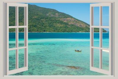 Sticker Été, voyage, vacances et concept de vacances - La fenêtre ouverte,