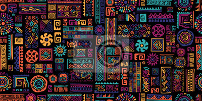 Sticker Ethnic handmade ornament, seamless pattern