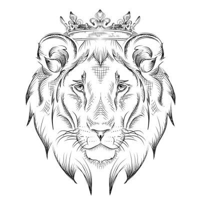 Sticker Ethnique, main, dessin, tête, lion, Porter, couronne Totem / conception de tatouage. Utilisation pour l'impression, affiches, t-shirts. Illustration vectorielle
