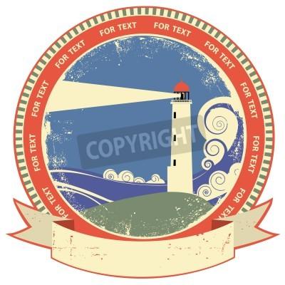 Sticker Étiquette symbol.Vintage Phare sur la texture vieux papier