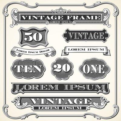 Sticker Étiquettes, cadres et ornements vintage