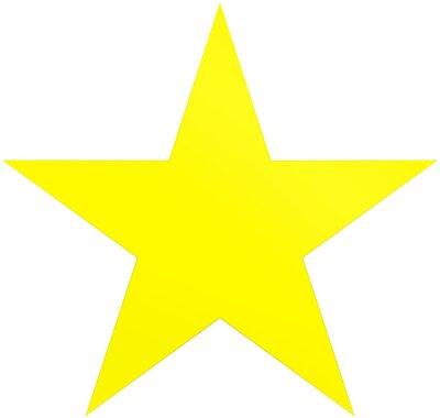 Sticker Étoile de Noël jaune - étoile simple 5 points - isolé sur blanc