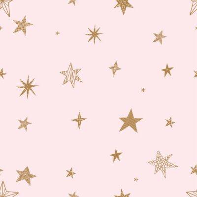 Sticker Étoiles d'or mignons. Modèle vectorielle continue. Le modèle sans couture peut être utilisé pour le papier peint, les motifs de remplissage, le fond de page Web, les textures de surface.