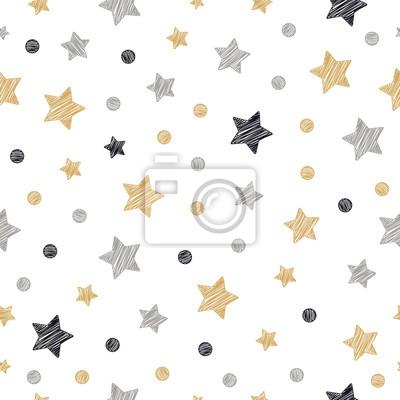 Sticker étoiles de Noël points modèle sans couture dessin à main levée fond isolé