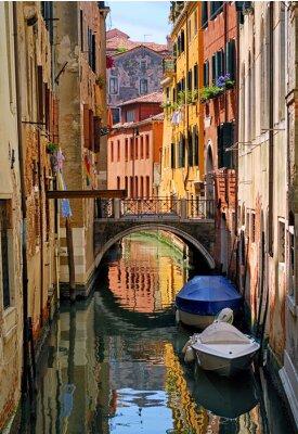 Sticker Étroit, canal, rue, Venise, Italie
