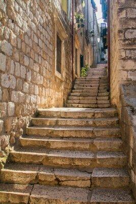 Sticker Étroit, rue, escalier, vieux, ville, Dubrovnik, Croatie ...