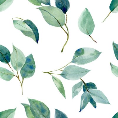 Sticker eucalyptus leaves, seamless pattern, watercolor tropical leaves on isolated white background, digital paper
