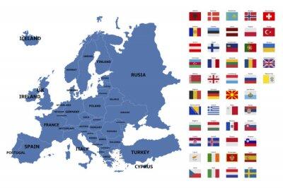 Sticker Europe, carte, drapeaux