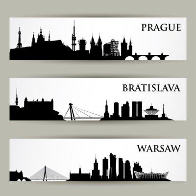 Sticker Europe centrale villes horizons