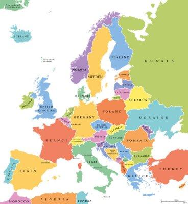 Sticker Europe unique états politique carte. Tous les pays de différentes couleurs, avec des frontières nationales et des noms de pays. Étiquetage et mise à l'échelle en anglais. Illustration sur fond blanc.