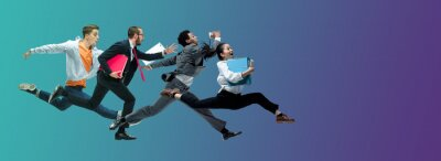 Sticker Evening. Happy office workers jumping and dancing in casual clothes or suit isolated on gradient neon fluid background. Business, start-up, working open-space, motion, action concept. Creative collage