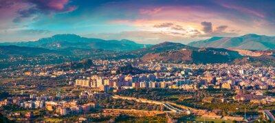 Sticker Evening view de l'oeil de l'oiseau de la ville de Bagheria