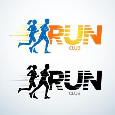 Sticker Exécutez le modèle de logo de club. Modèle de logotype de sport, club de sport, club courant et modèle de conception de logo de vecteur de forme physique. Fitness homme et femme.