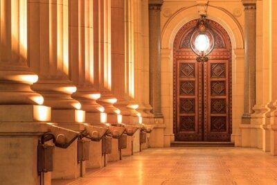 Sticker External View Of Victoria State Parliament Pillars Door And Illuminated Lamp