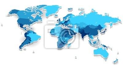 Extrudé carte du monde avec les pays