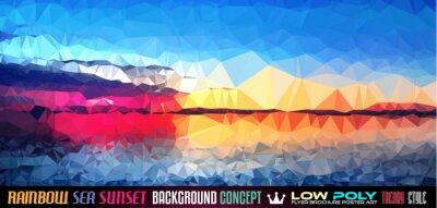 Sticker Faible bruit de fond Poly Tsea Sunset Art pour votre flyer polygonale