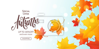 Sticker Fall horizontal banner with 3D colored maple leaves and text Autumn. Vector background with realistic falling foliage, inscription and effect bokeh. Seasonal template for flyers with special offers.