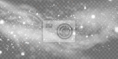Sticker Falling Christmas Shining snow, fog and wind isolated on transparent background. heavy snowfall, snowflakes in different shapes and forms. Winter Holidays Storm with snowflakes flying in the air