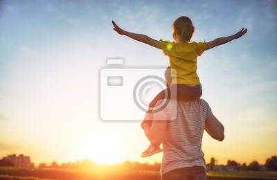 Sticker famille au coucher du soleil